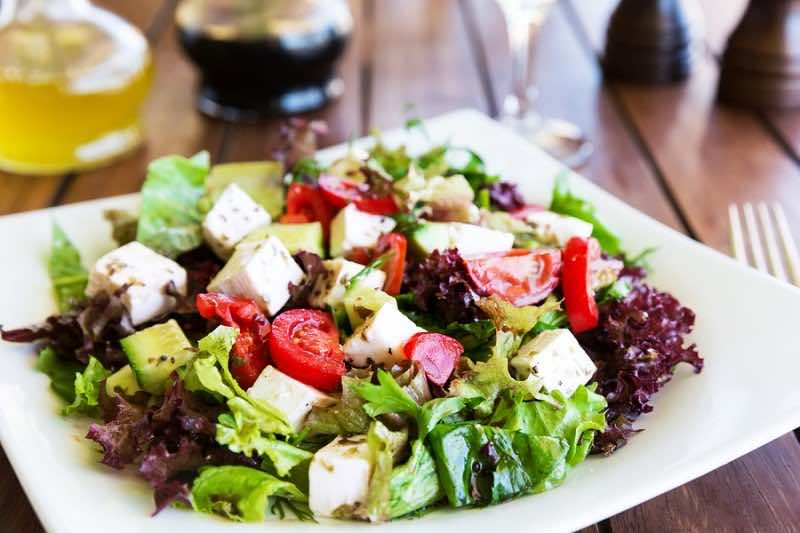 Greek Mediterranean Salad With Feta Cheese, Tomatoes And Peppers
