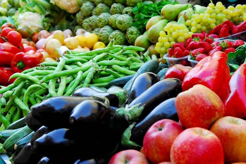 Fruit and vegetables on Boqueria market in Barcelona