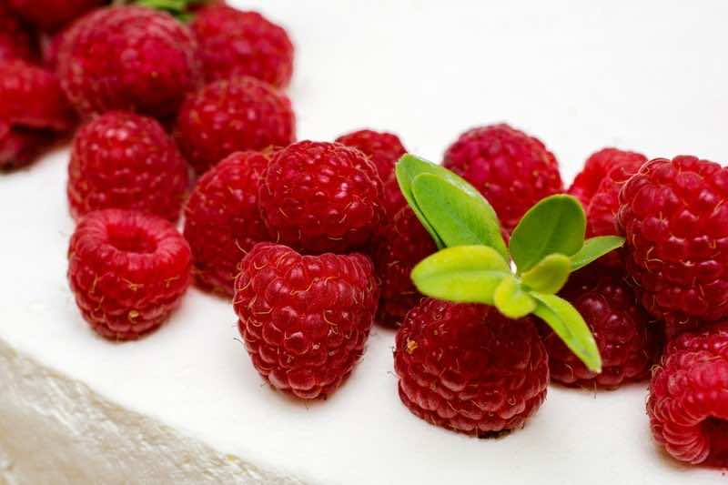 Delicious cake with fresh raspberries. Red raspberries.
