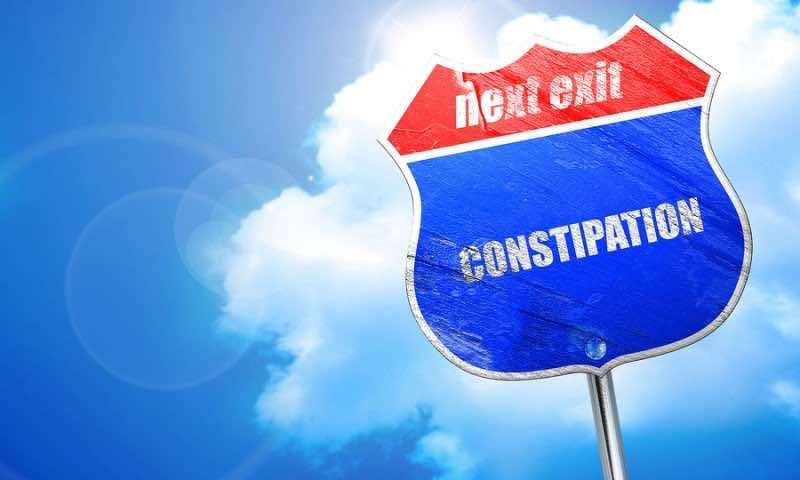 constipation, 3D rendering, blue street sign