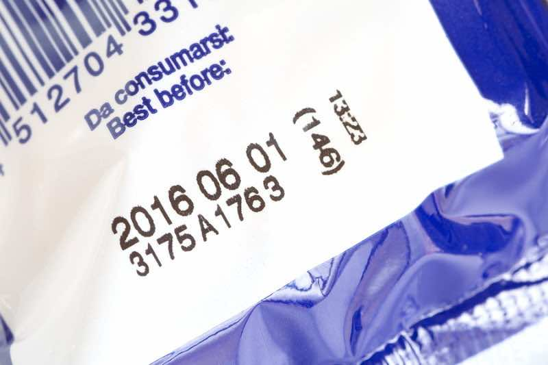 Close - up Expiry date printed on product box