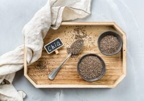 Healthy eating, dieting and nutrition, vegan concept. Organic chia seeds in a bowl, ingredient, superfood. Copy space background