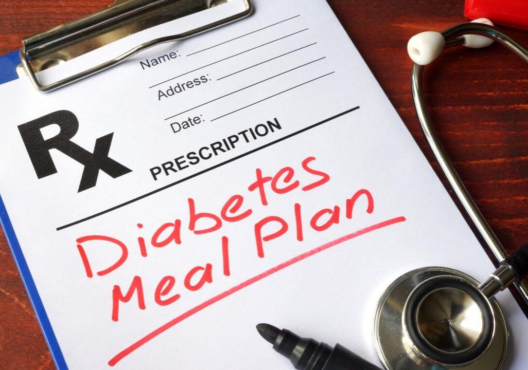 Prescription form with words Diabetes meal plan.