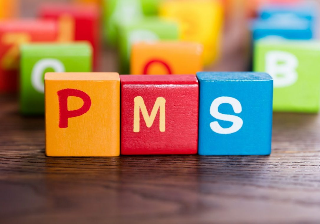 PMS Word Made With Colorful Blocks On Table