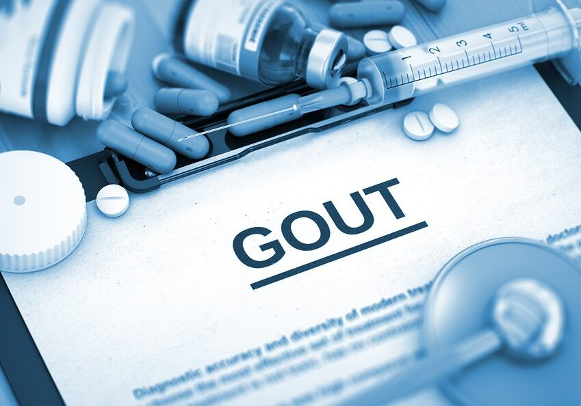 GOUT, Medical Concept with Pills, Injections and Syringe. GOUT, Medical Concept with Selective Focus. Diagnosis - GOUT On Background of Medicaments Composition - Pills, Injections and Syringe. 3D.