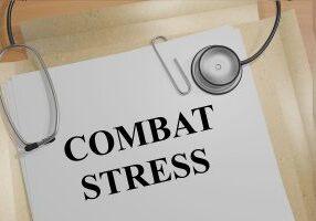 "3D illustration of ""COMBAT STRESS"" title on medical document"