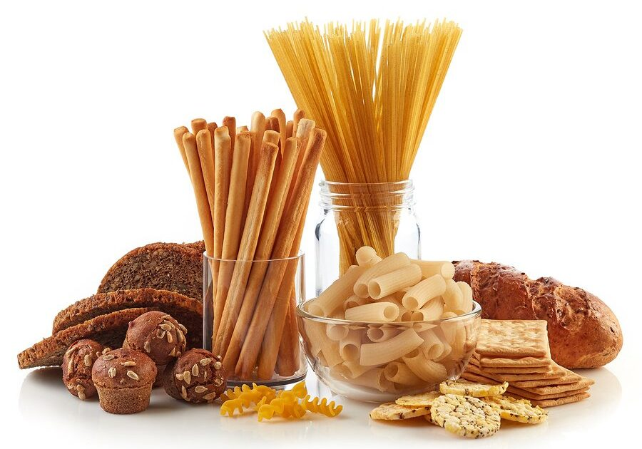 Gluten free food. Various pasta bread and snacks isolated on white background.