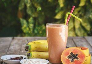 Ingredients for smoothies: bananas, oat, papaya, gojji ** Note: Shallow depth of field