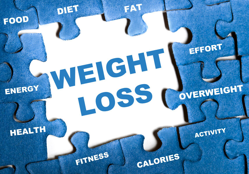 Weight loss blue puzzle pieces assembled