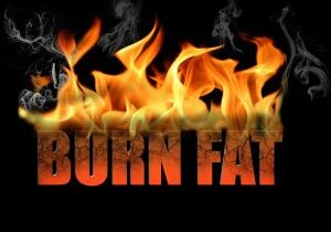 This conceptual digital art is the words burn fat to show dieting weight loss etc with flame text on a black background.