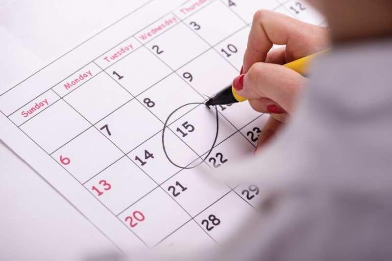 Close-up photo of calendar with a datum circled