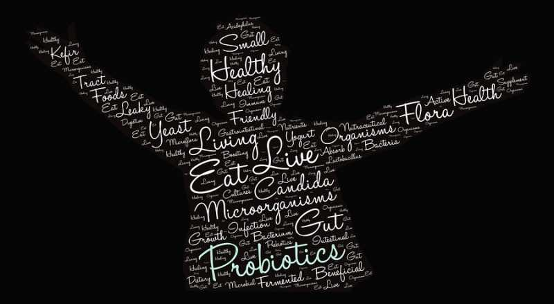 Probiotics word cloud on a black background.