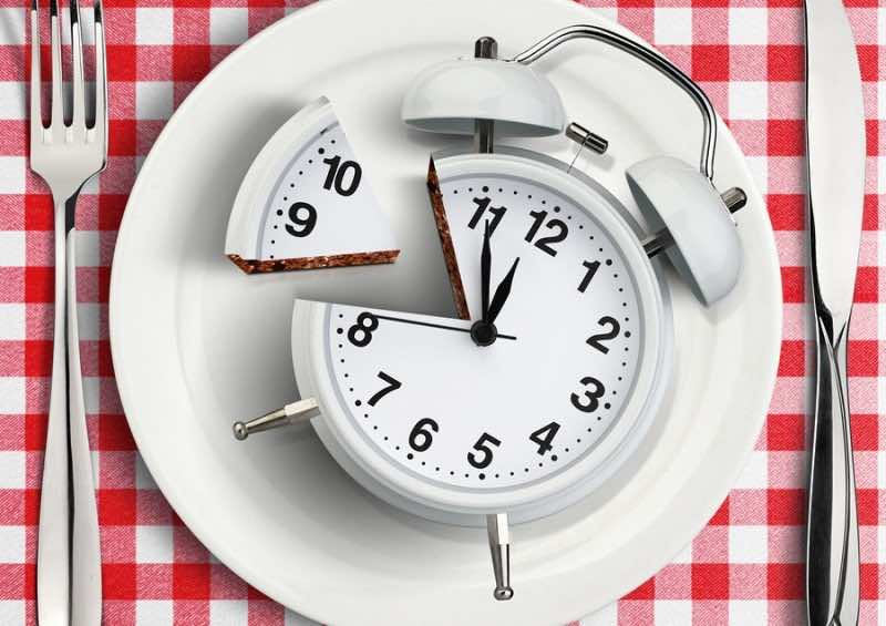 Time to eat concept cut clock on plate