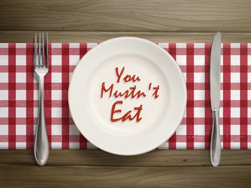 You Must Not Eat Written By Ketchup On Plate