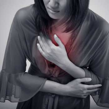 Woman suffering from acid reflux or heartburn