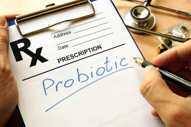 Prescription form with sign Probiotic. Medical concept.