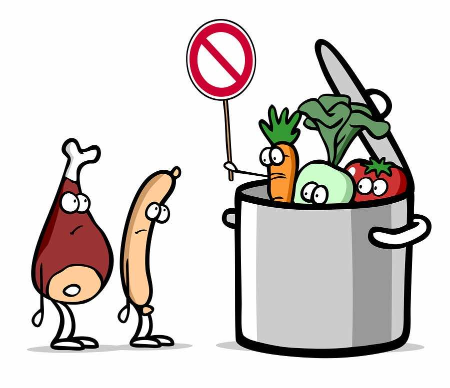 Cartoon of vegetarian vegetables in pot as no meat concept ...